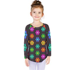 Pattern Background Colorful Design Kids  Long Sleeve Tee