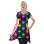 Pattern Background Colorful Design Short Sleeve Side Drop Tunic