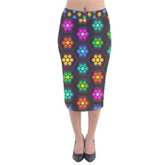 Pattern Background Colorful Design Velvet Midi Pencil Skirt