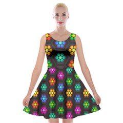 Pattern Background Colorful Design Velvet Skater Dress