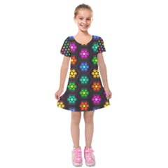 Pattern Background Colorful Design Kids  Short Sleeve Velvet Dress