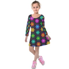 Pattern Background Colorful Design Kids  Long Sleeve Velvet Dress