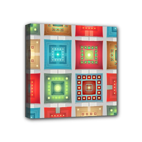 Tiles Pattern Background Colorful Mini Canvas 4  X 4