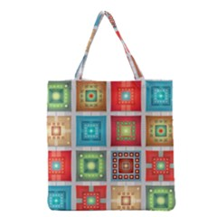 Tiles Pattern Background Colorful Grocery Tote Bag by Amaryn4rt