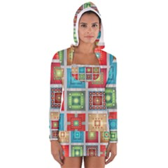 Tiles Pattern Background Colorful Women s Long Sleeve Hooded T Shirt by Amaryn4rt