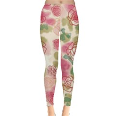 Aquarelle Pink Flower  Leggings  by Brittlevirginclothing