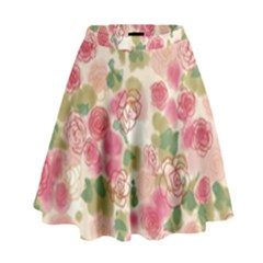 Aquarelle Pink Flower  High Waist Skirt by Brittlevirginclothing
