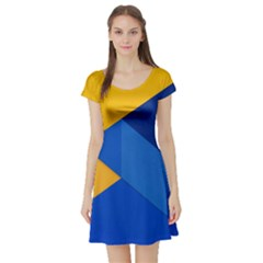 Box Yellow Blue Red Short Sleeve Skater Dress by Jojostore