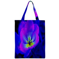 Blue And Purple Flowers Zipper Classic Tote Bag by Jojostore
