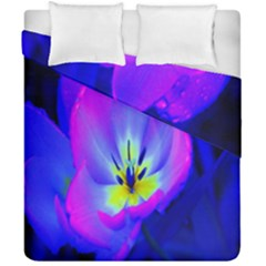 Blue And Purple Flowers Duvet Cover Double Side (california King Size) by Jojostore