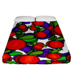 Peaches And Plums Fitted Sheet (king Size) by Valentinaart