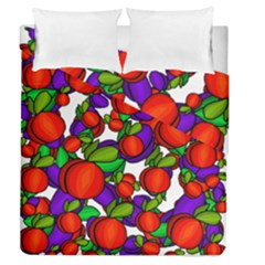 Peaches And Plums Duvet Cover Double Side (queen Size) by Valentinaart