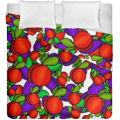 Peaches And Plums Duvet Cover Double Side (king Size) by Valentinaart