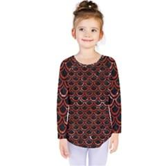 Scales2 Black Marble & Red Marble Kids  Long Sleeve Tee by trendistuff