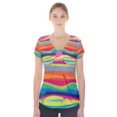 Colorfull Rainbow Short Sleeve Front Detail Top by Jojostore