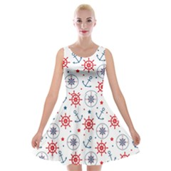 Compass Anchor Velvet Skater Dress by Jojostore