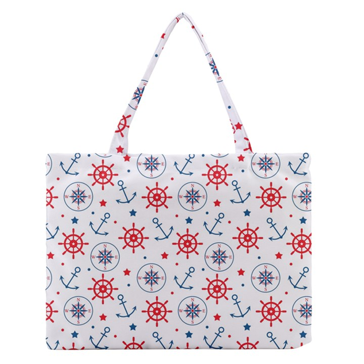 Compass Anchor Medium Zipper Tote Bag