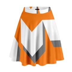 Cute Orange Chevron High Waist Skirt by Jojostore