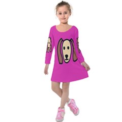 Face Dog Kids  Long Sleeve Velvet Dress