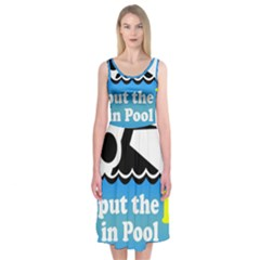 Funny Swiming Water Midi Sleeveless Dress