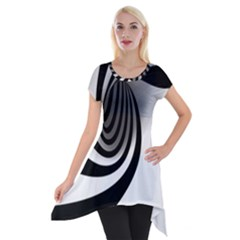 Hole Black White Short Sleeve Side Drop Tunic by Jojostore
