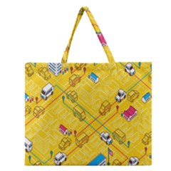 Highway Town Zipper Large Tote Bag by Jojostore