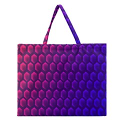 Outstanding Hexagon Blue Purple Zipper Large Tote Bag by Jojostore