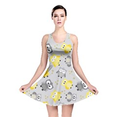 Owl Bird Yellow Animals Reversible Skater Dress