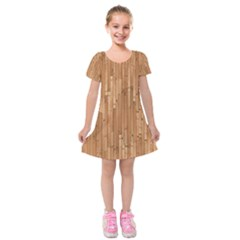 Parquet Floor Kids  Short Sleeve Velvet Dress by Jojostore