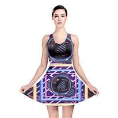 Abstract Sphere Room 3d Design Reversible Skater Dress by Amaryn4rt