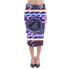 Abstract Sphere Room 3d Design Velvet Midi Pencil Skirt by Amaryn4rt