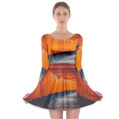 Architecture Art Bright Color Long Sleeve Skater Dress