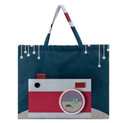 Camera Vector Illustration Zipper Large Tote Bag by Amaryn4rt