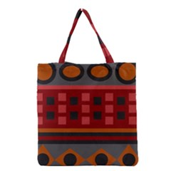 Red Aztec Grocery Tote Bag