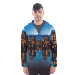 Hamburg City Blue Hour Night Hooded Wind Breaker (men) by Amaryn4rt