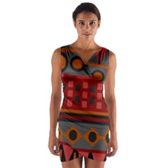 Red Aztec Wrap Front Bodycon Dress by Jojostore