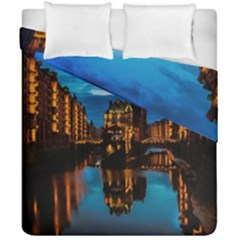 Hamburg City Blue Hour Night Duvet Cover Double Side (california King Size) by Amaryn4rt