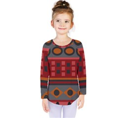 Red Aztec Kids  Long Sleeve Tee by Jojostore