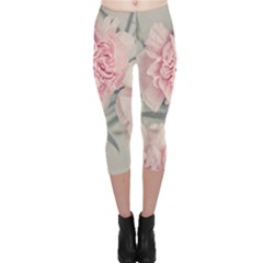 Cloves Flowers Pink Carnation Pink Capri Leggings