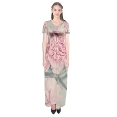 Cloves Flowers Pink Carnation Pink Short Sleeve Maxi Dress by Amaryn4rt