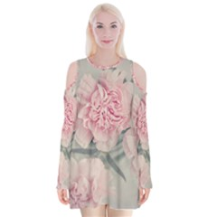 Cloves Flowers Pink Carnation Pink Velvet Long Sleeve Shoulder Cutout Dress by Amaryn4rt