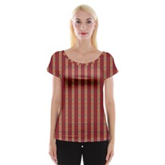 Pattern Background Red Stripes Women s Cap Sleeve Top