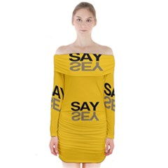 Say Yes Long Sleeve Off Shoulder Dress by Jojostore