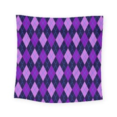 Tumblr Static Argyle Pattern Blue Purple Square Tapestry (small)