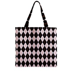 Tumblr Static Argyle Pattern Gray Brown Zipper Grocery Tote Bag by Jojostore