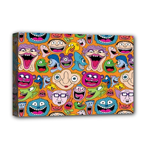 Smiley Pattern Deluxe Canvas 18  X 12