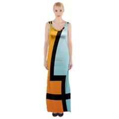 Two Fafe Orange Blue Maxi Thigh Split Dress by Jojostore