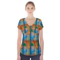Wall Of Colour Duplication Short Sleeve Front Detail Top by Jojostore