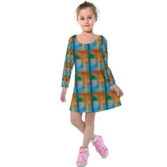 Wall Of Colour Duplication Kids  Long Sleeve Velvet Dress