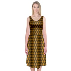 Webbing Woven Bamboo Orange Yellow Midi Sleeveless Dress